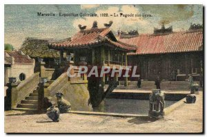 Postcard Old Marseilles Colonial Exhibition 1922 Pagoda on the water