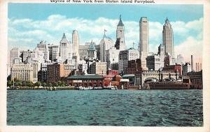 Skyline of New York from Staten Island Ferryboat, Early Postcard, Unused