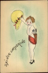 Handmade Drawn Sainte Catherine Girl w. Quiver Bonnet Hat c1910 Postcard