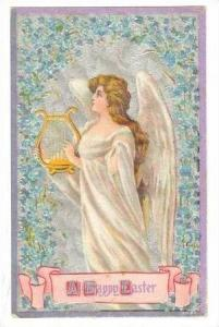 Happy Easter, Angel Playing Hand Held Harp, 00-10s