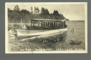 Cass Lake MINNESOTA RP 1923 TOURIST LAUNCH Boat FISHING Mississippi River NICE!