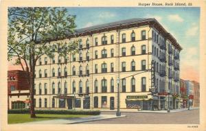 Rock Island Illinois~Harper House~Interstate Liquors~Greyhound Bus Depot~1939 PC