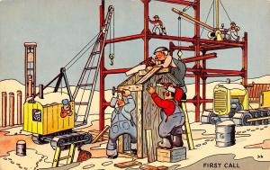 Comic~Construction Site~First Call Workers Build the Out House~1950s Postcard