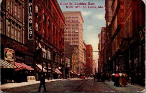 St Louis Missouri~Olive Street East @ 12th~Goldman Bros~Peoples~Ale Now On~c1910