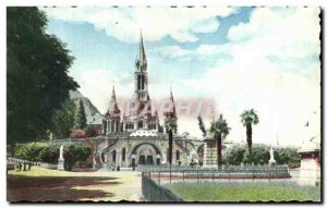Old Postcard Lourdes Basilica and the crowned Virgin Cure d & # 39Ars