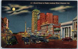 Augusta, Georgia Postcard Broad Street at Night Full Moon Curteich Linen 1940s
