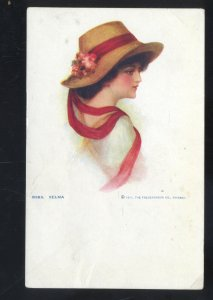 1911 THE FREDERICKSON CO. PRETTY GIRL SELMA NO. 8369 VINTAGE POSTCARD WOMAN HAT