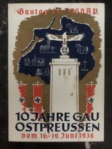 1938 Konigsberg Germany picture Postcard cover 10 years gau east prussia