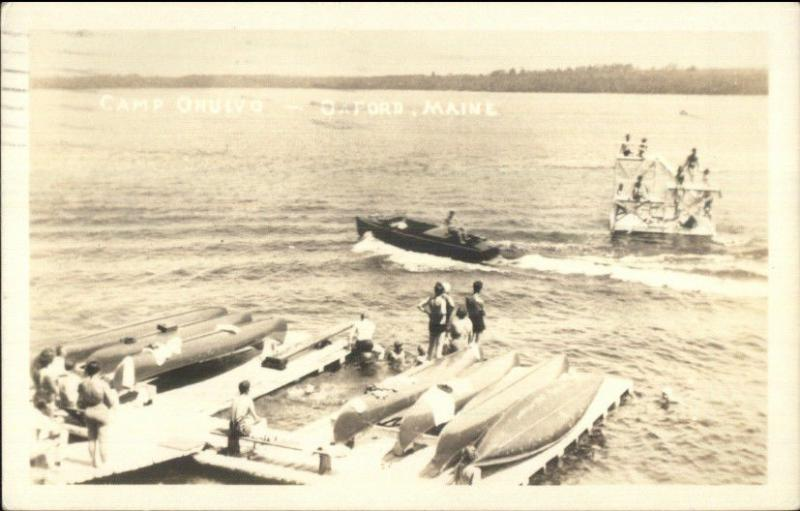 Oxford ME Camp Ohulvo Boating Canoes Real Photo Postcard
