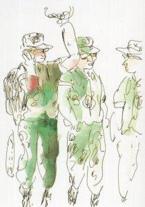 Army Boys Singapore Military Comic Sketch Painting Postcard
