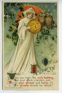 Halloween Winsch Beautiful Witch Owls 1911 Postcard