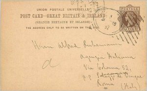 Entier Postal Stationery Postal Britain Great Britain in 1892 to Roma