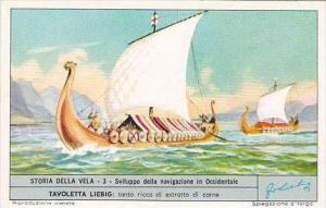 Liebig Trade Card S1803 Story of Sail No 3 Sviluppo della navigazione in Occi...