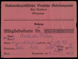 3rd Reich Germany WWII Membership Revenue Card NSDAP 77172