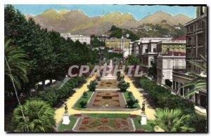 Old Postcard Menton Overview The Public Gardens Sainte Agnes Mountains