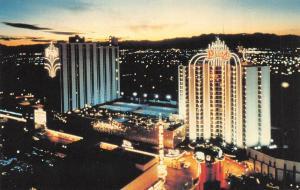 LAS VEGAS, NV Nevada  UNION PLAZA HOTEL & CASINO  Bird's Eye Night View Postcard