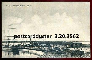 3562 - PICTOU NS Postcard 1937 CNR Docks. Tall Ship by Fergusson