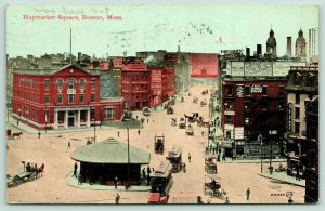 Boston Massachusetts~Haymarket Square Birdseye View~Trolley Stop Center~1911