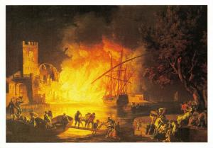 Art Postcard, Fire on the Tiber by Claude Joseph Vernet 87S