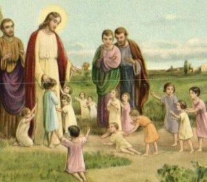 1920s Religious Jesus With Children P222