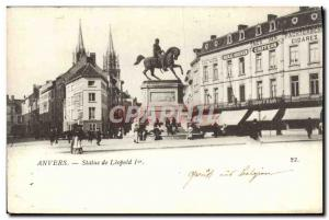 Old Postcard Statue of Leopold Antwerp 1