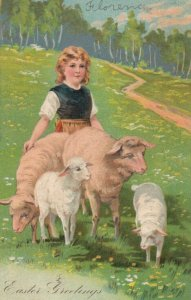 EASTER Greetings, 1908; Shepherdess with her sheep