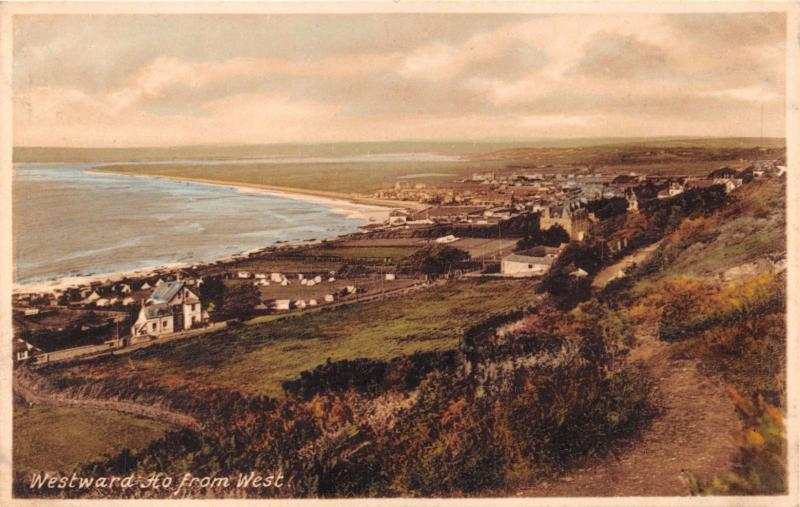 WESTWARD HO DEVON~ELEVATED VIEW FROM WEST~FRITH #88636 COLOR PHOTO POSTCARD