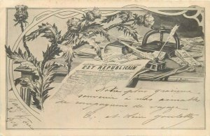 Quotidien Est Republicain political newspaper advertising 1904 postcard