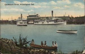 Wilmington DE Steamers Ships on Christiana River c1910 Postcard
