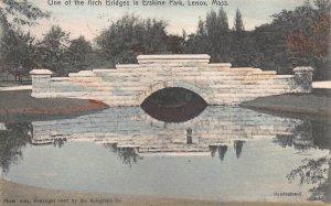 Arch Bridge in Erskine Park, Lenox, MA, Hand Colored Postcard, Used in 1909