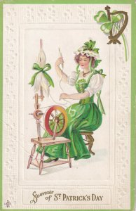ST. PATRICK'S DAY, Woman On Spinning Wheel, PU-1912; L.S.C. Series 209 B