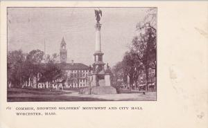 WORCESTER, Massachusetts, 1900-1910's; Common, Showing Soldiers' Monument and...