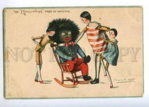 176212 GOLLIWOGG Dancing US FLAG by UPTON Vintage TUCK