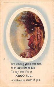 Argo Illinois Greetings Sheep Herding Vintage Postcard JC932356