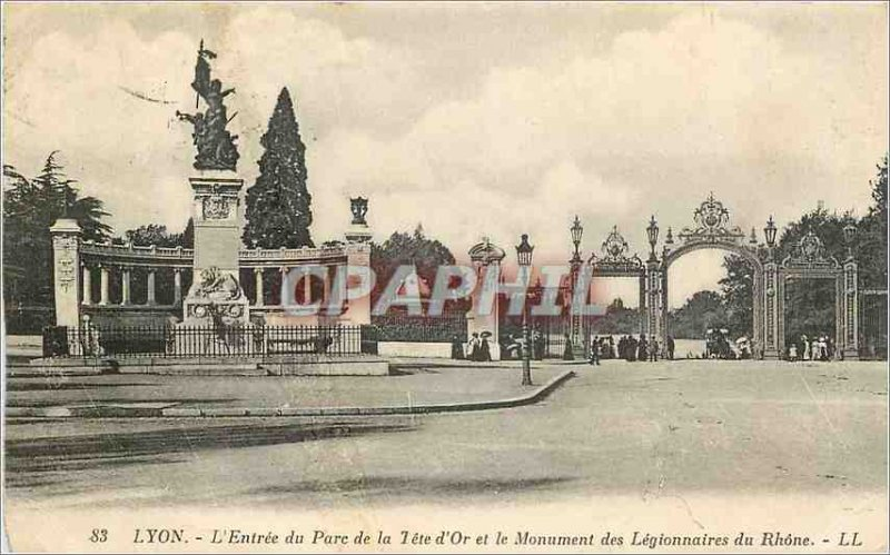 Old Postcard Lyon Entree d'Or Tete Park and the Monument of the Legionnaires ...