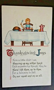 Mint Vintage Thanksgiving Greetings Young Child At Table With Poem Postcard