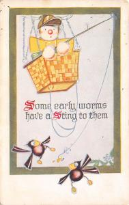 Aviator Kids Series~Early Worm Has String~Boy Fishing From Hot Air Balloon~1913