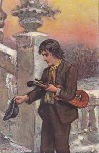 Beggar Violin player art postcard , 00-10s Spare a Penny?