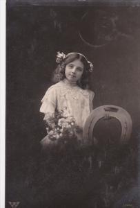 RP: Portrait of Girl in White Dressw/ Flowers & Large Horseshoe 1910-20s