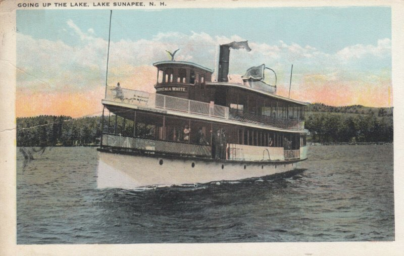 Steamer Going Up The Lake , LAKE SUNAPEE , New Hampshire , 1924