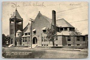 East St Louis Illinois~First Presbyterian Church~Cobblestone Street~1908 B&W PC