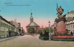 Germany Rastatt Bernhardusbrunnen und Kath Stadtkirche 04.46