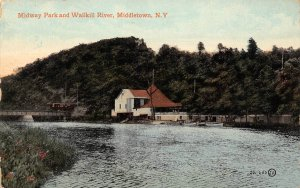 Midway Park Wallkill River Middletown New York 1913 postcard