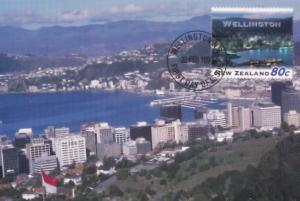 Wellington Skyscraper Beach New Zealand Stamp Postcard First Day Cover