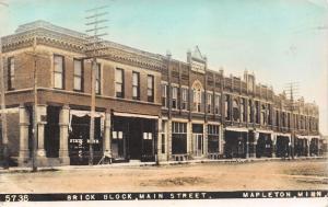 Mapleton Minnesota~Main Street Brick Block~Bank~Barber Shop~Furniture~1910 RPPC