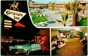 Bakersfield, California Postcard CARAVAN INN Highway 99 Roadside c1950s Chrome