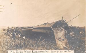 Knob Noster MO~Missouri Pacific Railroad~MoPac Train Wreck~July 2 1908~RPPC
