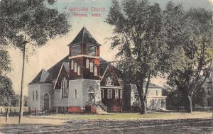 Onawa IA~Handcolored Methodist Church~Corner Tower~Dirt Rd~Neighbor 1910