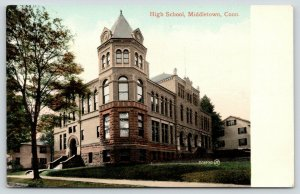 Middletown Connecticut~High School~Corner View~Houses on Side~c1910