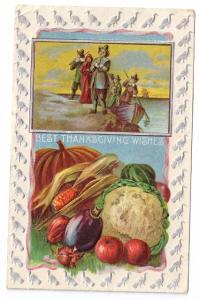 Vintage Thanksgiving Postcard Pilgrims Landing Vegetables Silver Turkey Frame
